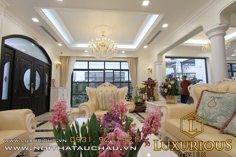 Thiết kế nội thất phòng khách biệt thự hải phòng