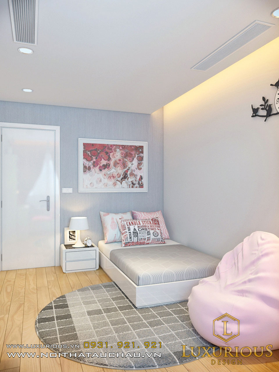 Mẫu phòng ngủ chung cư cho bé gái