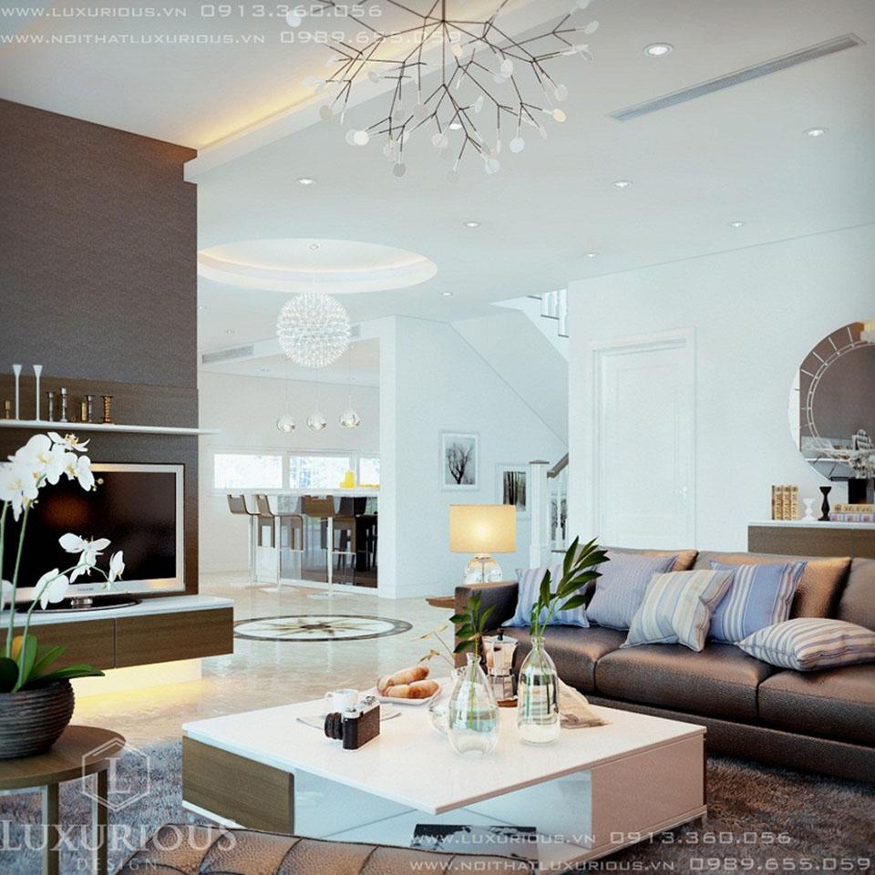 thiết kế nội thất phòng khách biệt thự vườn tùng