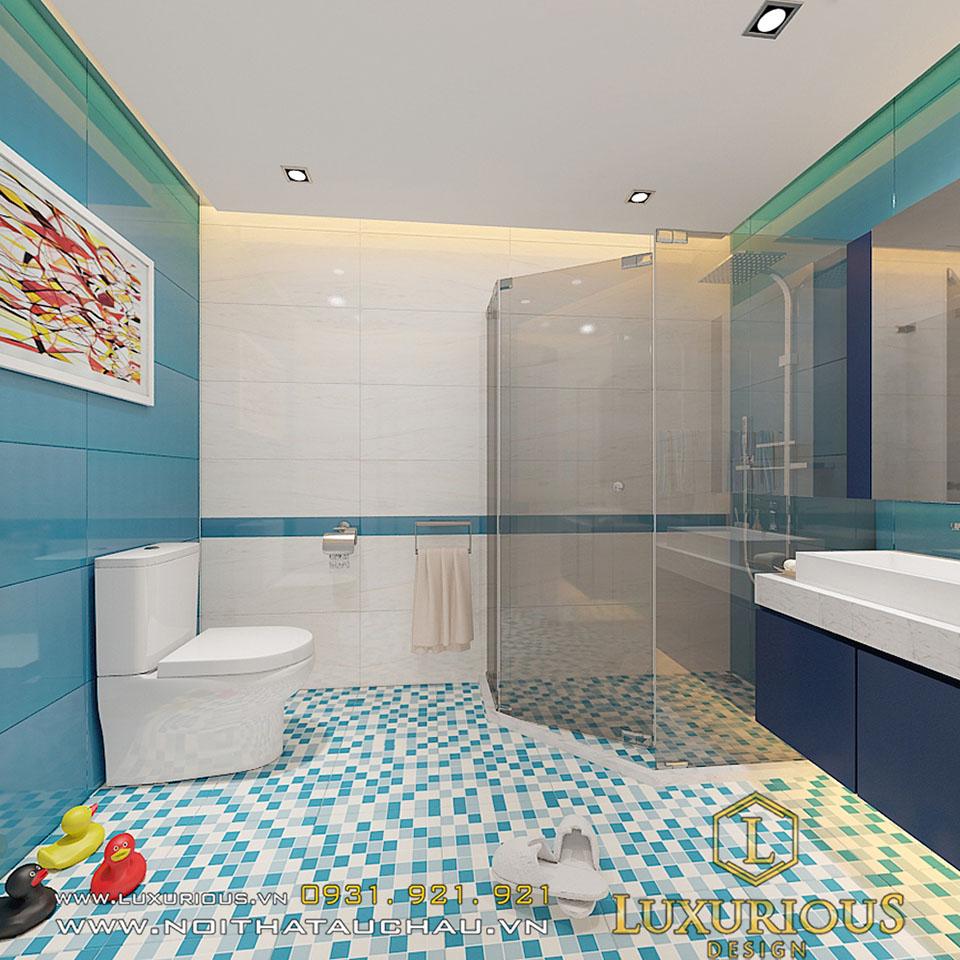 Phòng vệ sinh trong phòng ngủ bé trai