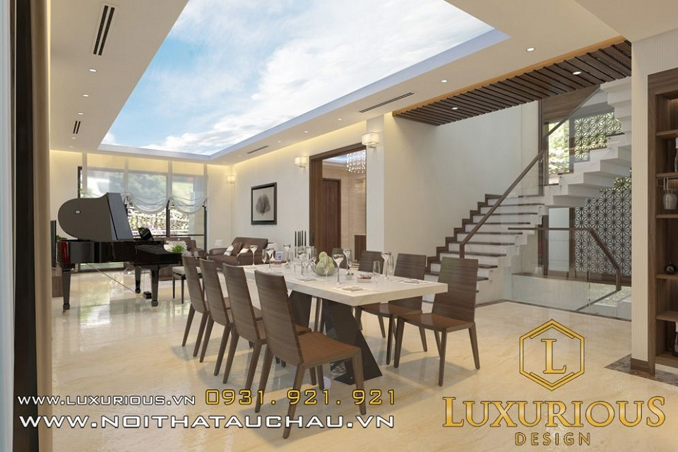Thiết kế nội thất phòng ăn nhà biệt thự vinhomes the harmony