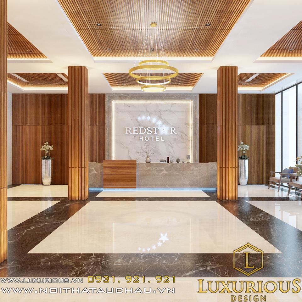 thiết kế sảnh khách sạn redstar hotel