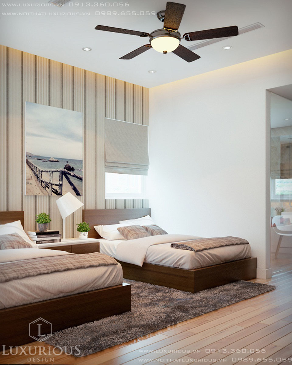 Thiết kế phòng ngủ cho khách biệt thự