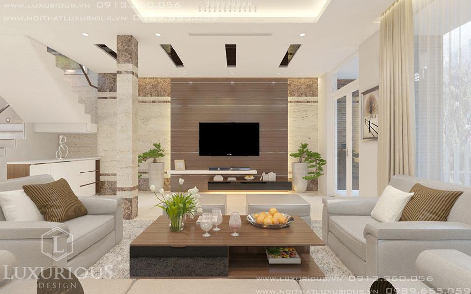 Thiết kế phòng khách biệt thự vườn mai
