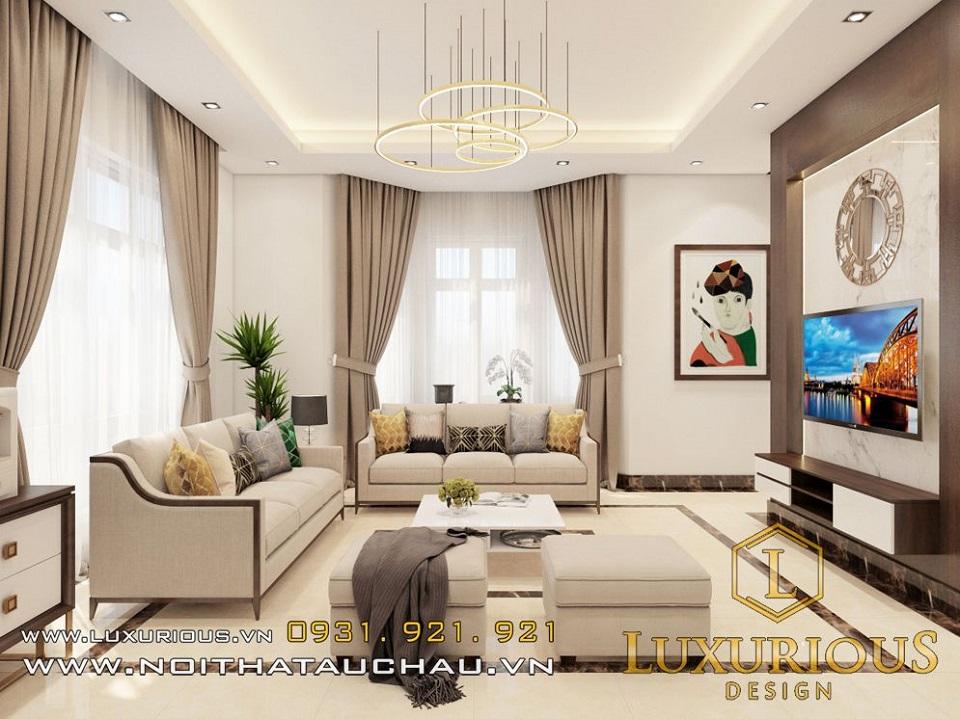 Mẫu thiết kế nội thất phòng khách nhà biệt thự