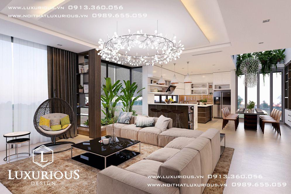 Mẫu thiết kế nội thất phòng khách biệt thự cao cấp