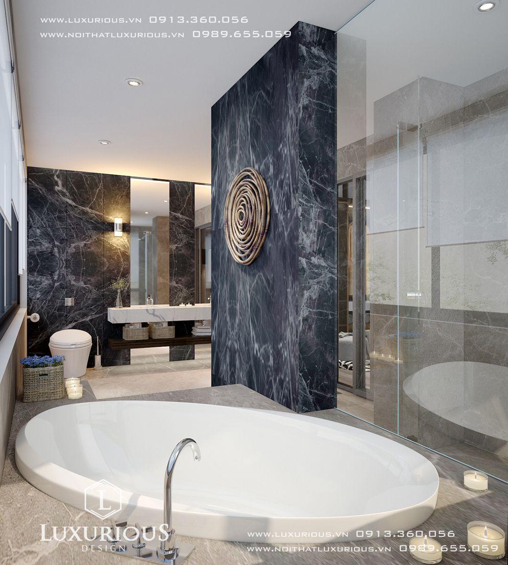 Mẫu thiết kế nội thất phòng tắm nhà biệt thự cửa lò