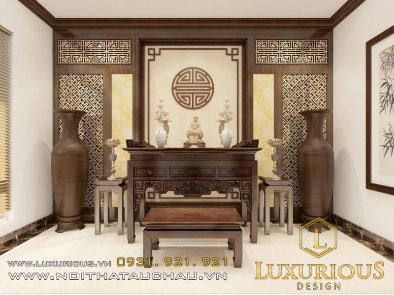 Thiết kế nội thất phòng thờ trang nghiêm