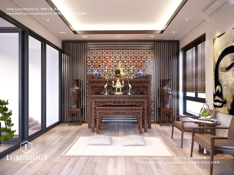 Thiết kế nội thất phòng thờ nhà biệt thự