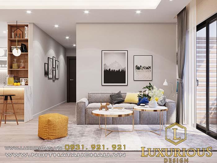 Mẫu thiết kế căn hộ chung cư 70m2 phòng khách