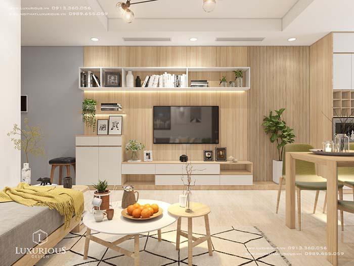 Phòng khách chung cư 70m2 đẹp