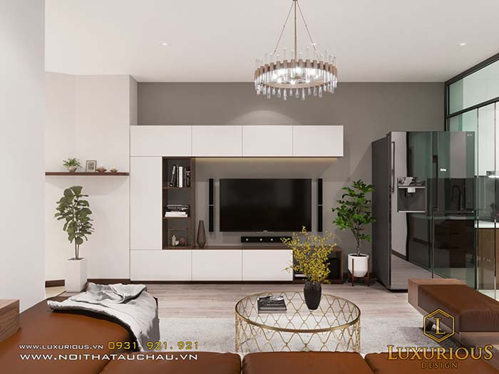 Mẫu thiết kế nội thất chung cư 70m2 phòng khách