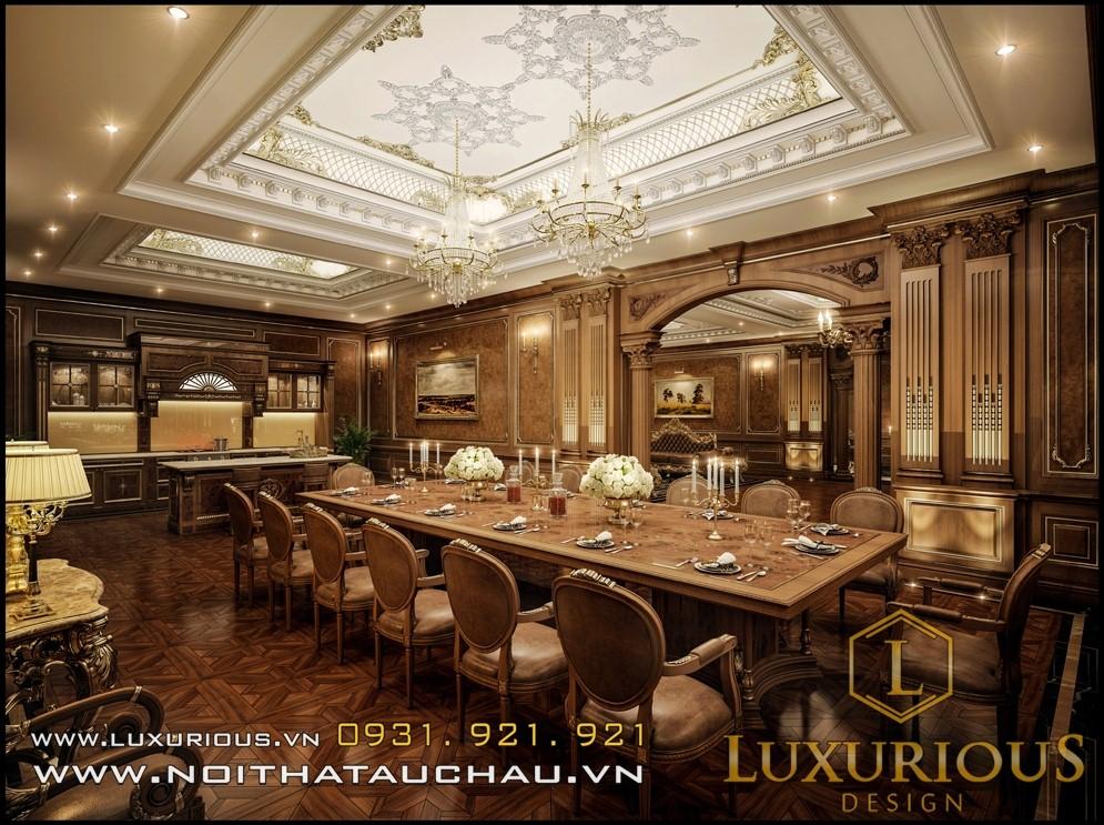 thiết kế nội thất phòng ăn biệt thự cổ điển