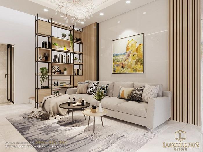 Thiết kế nội phòng khách nhà phố hiện đại