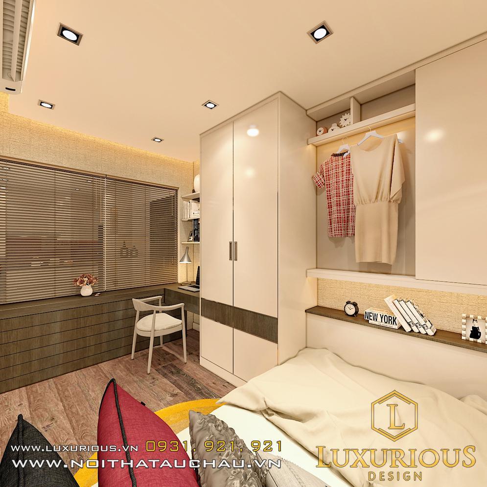 Mẫu thiết kế phòng ngủ chung cư Sky