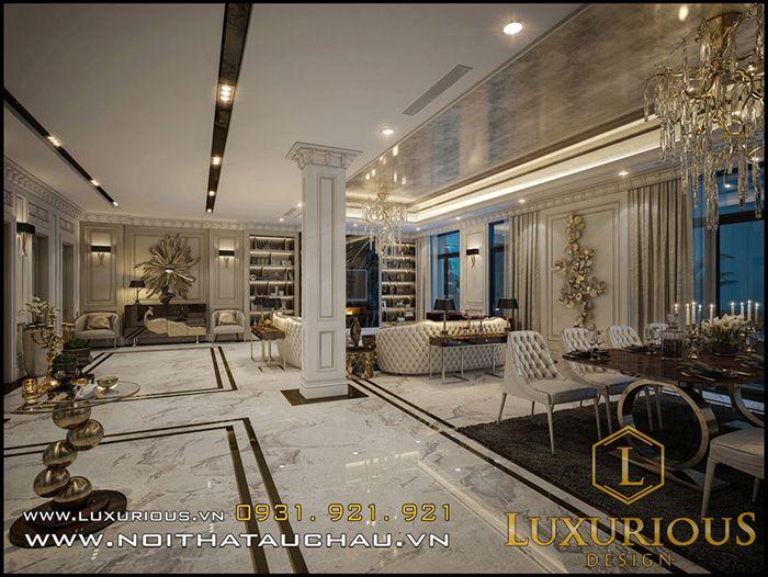 thiết kế nội thất phòng khách châu âu