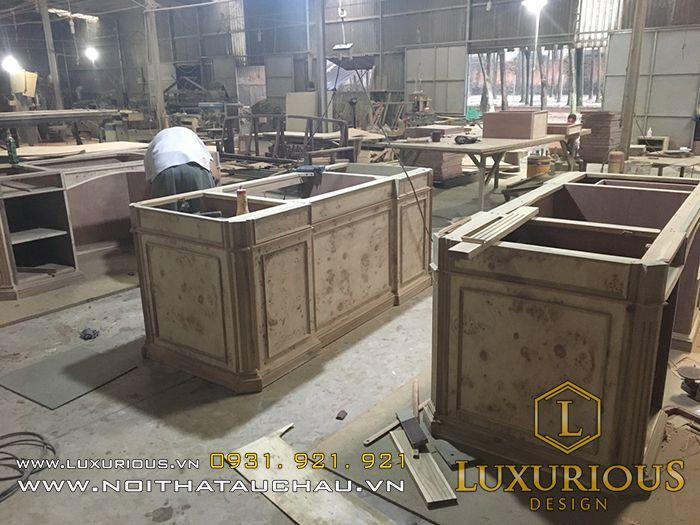 Ảnh thi công nội thất gỗ tại nhà máy