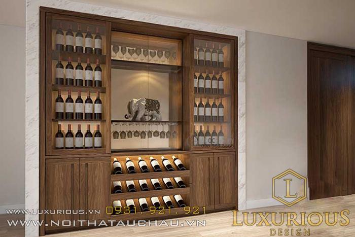 Mẫu tủ rượu âm tường hiện đại