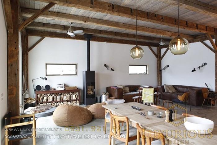 Phong cách kiến trúc nội thất thô mộc