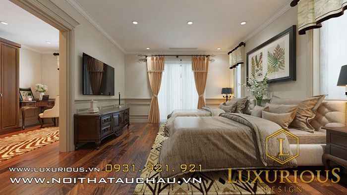 Phòng ngủ nhà biệt thự mặt tiền 6m