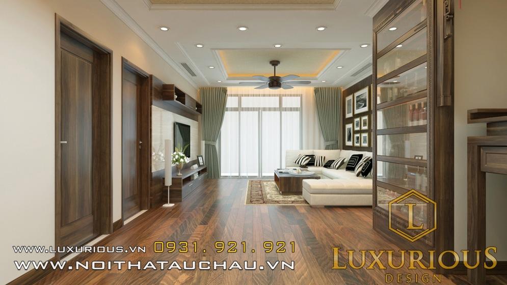 Mẫu sàn gỗ phòng khách chung cư đẹp