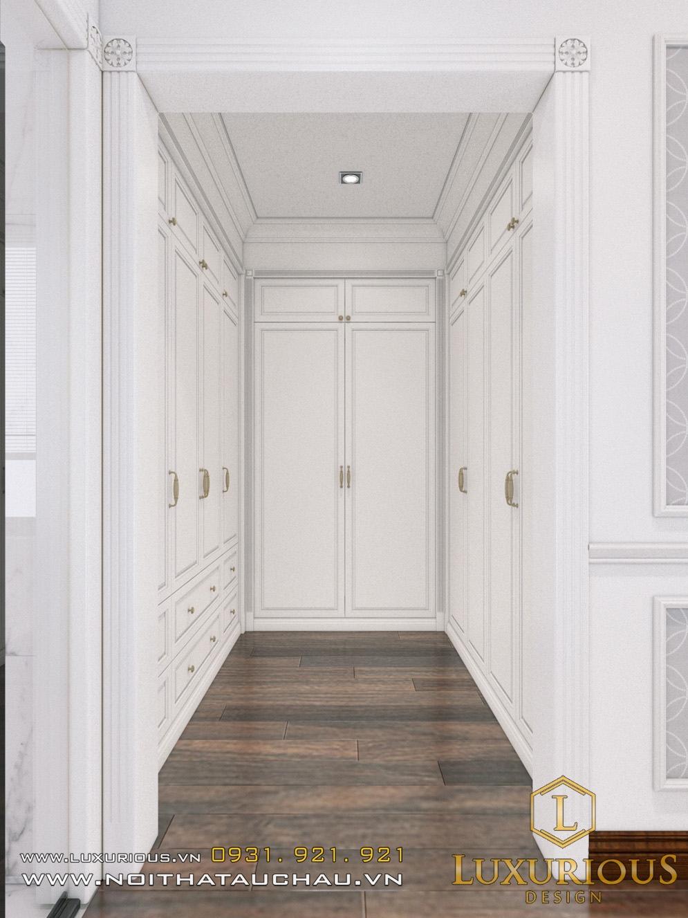 Hành lang phòng thay đồ biệt thự với tone màu trắng