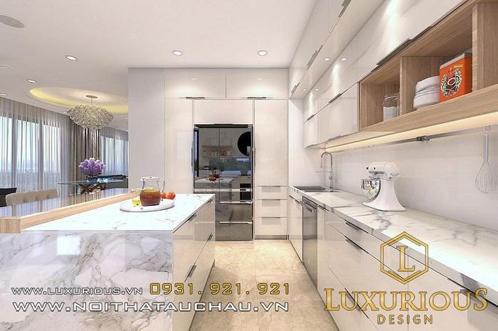 Thiết kế nội thất phòng bếp nhà chung cư 50m2 2 phòng ngủ