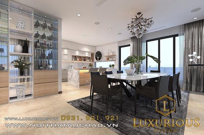 Thiết kế nội thất phòng ăn chung cư 50m2