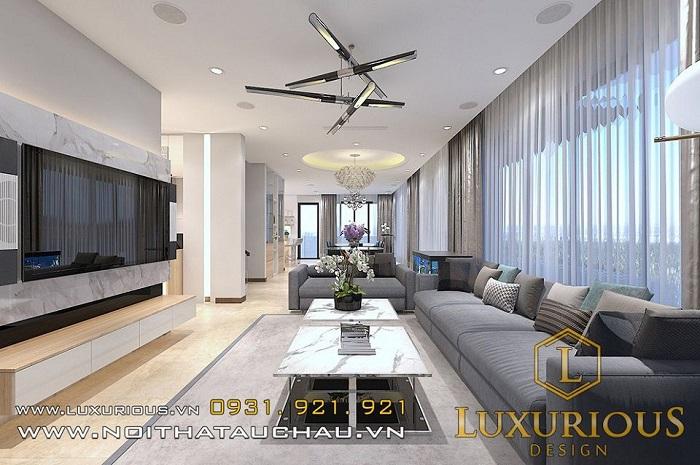 Thiết kế nội thất phòng khách nhà chung cư 50m2