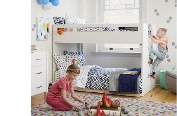 Mẫu giường tầng trẻ em với màu trắng sáng tiện ích