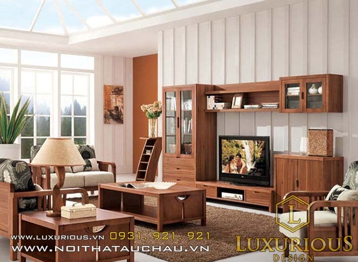 Nội thất phòng khách bằng gỗ tự nhiên 2