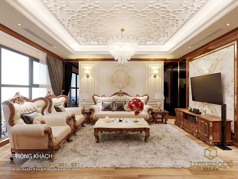 Nội thất phòng khách bằng gỗ tự nhiên
