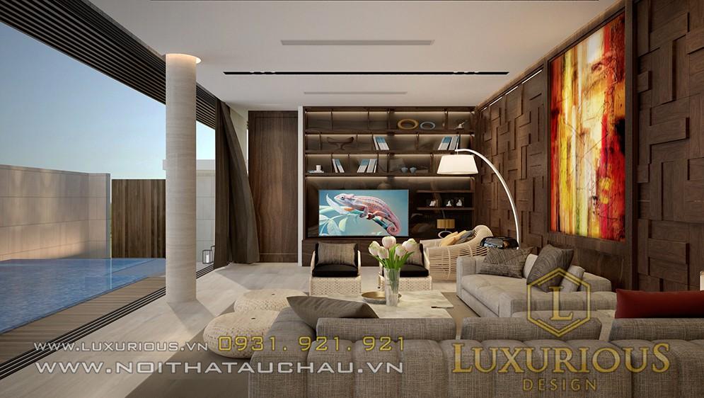Thiết kế nội thất phòng khách biệt thự sơn trà Đà Nẵng