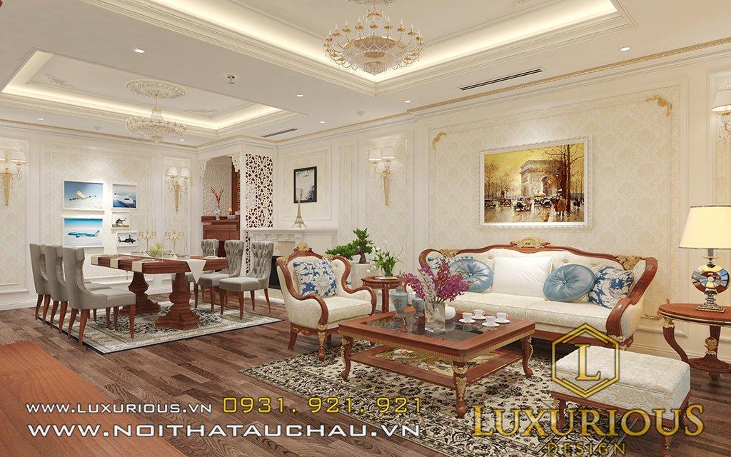 Phòng khách liền bếp chung cư Golden Palm