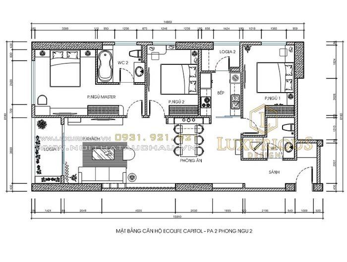 Mặt bằng thiết kế nội thất căn hộ chung cư cao cấp