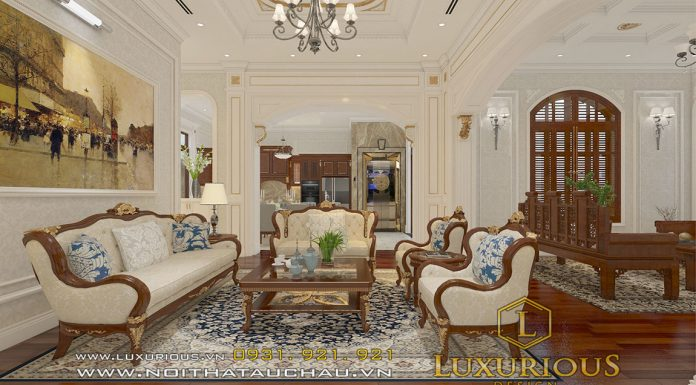 Phòng khách biệt thự tân cổ điển Hà Tĩnh