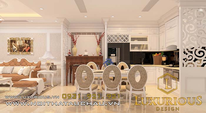 Phòng khách liền bếp chung cư đẹp