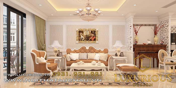 Mẫu thiết kế phòng khách chung cư cao cấp tân cổ điển