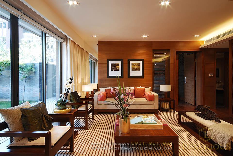 Phòng khách biệt thự phong cách á đông