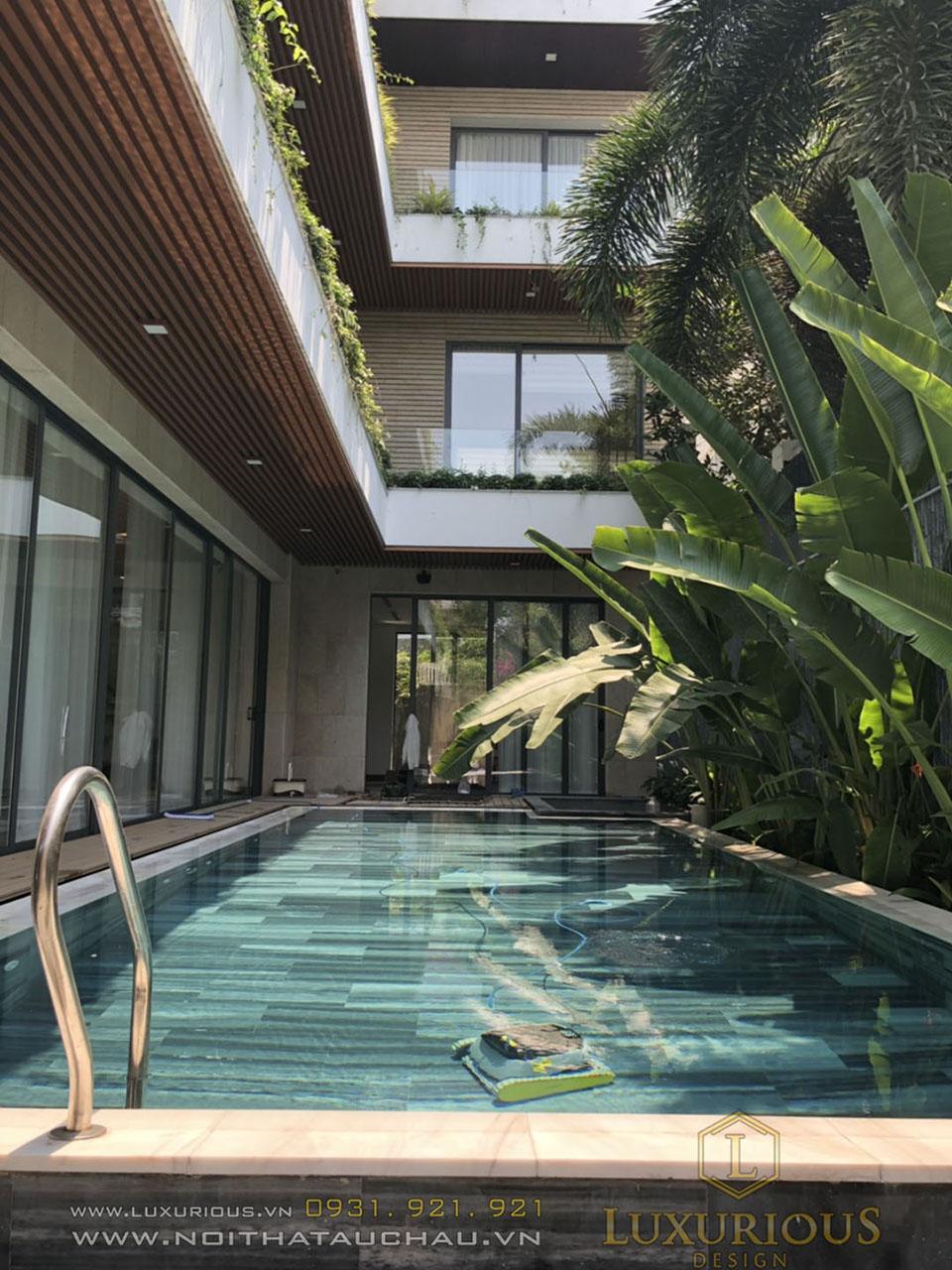 Thi công nội thất biệt thự có bể bơi