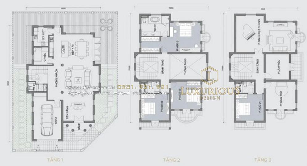 Mặt bằng thiết kế biệt thự Vinhomes