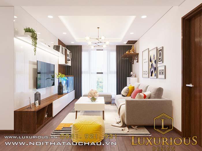 Mẫu nội thất phòng khách chung cư cao cấp nhỏ tinh tế