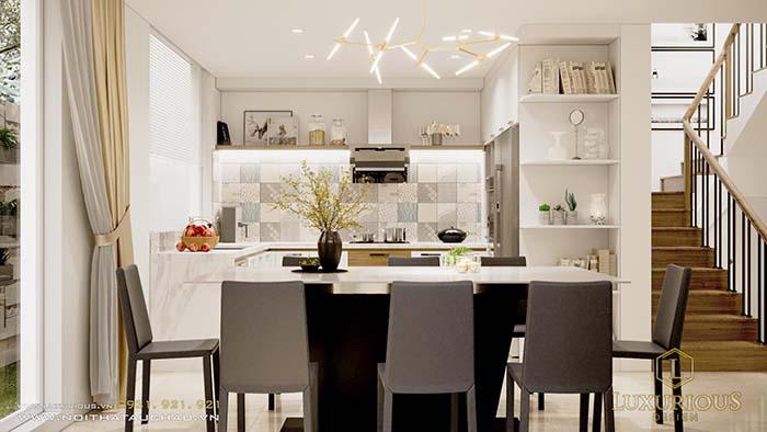 Mẫu phòng ăn liền bếp phong cách hiện đại