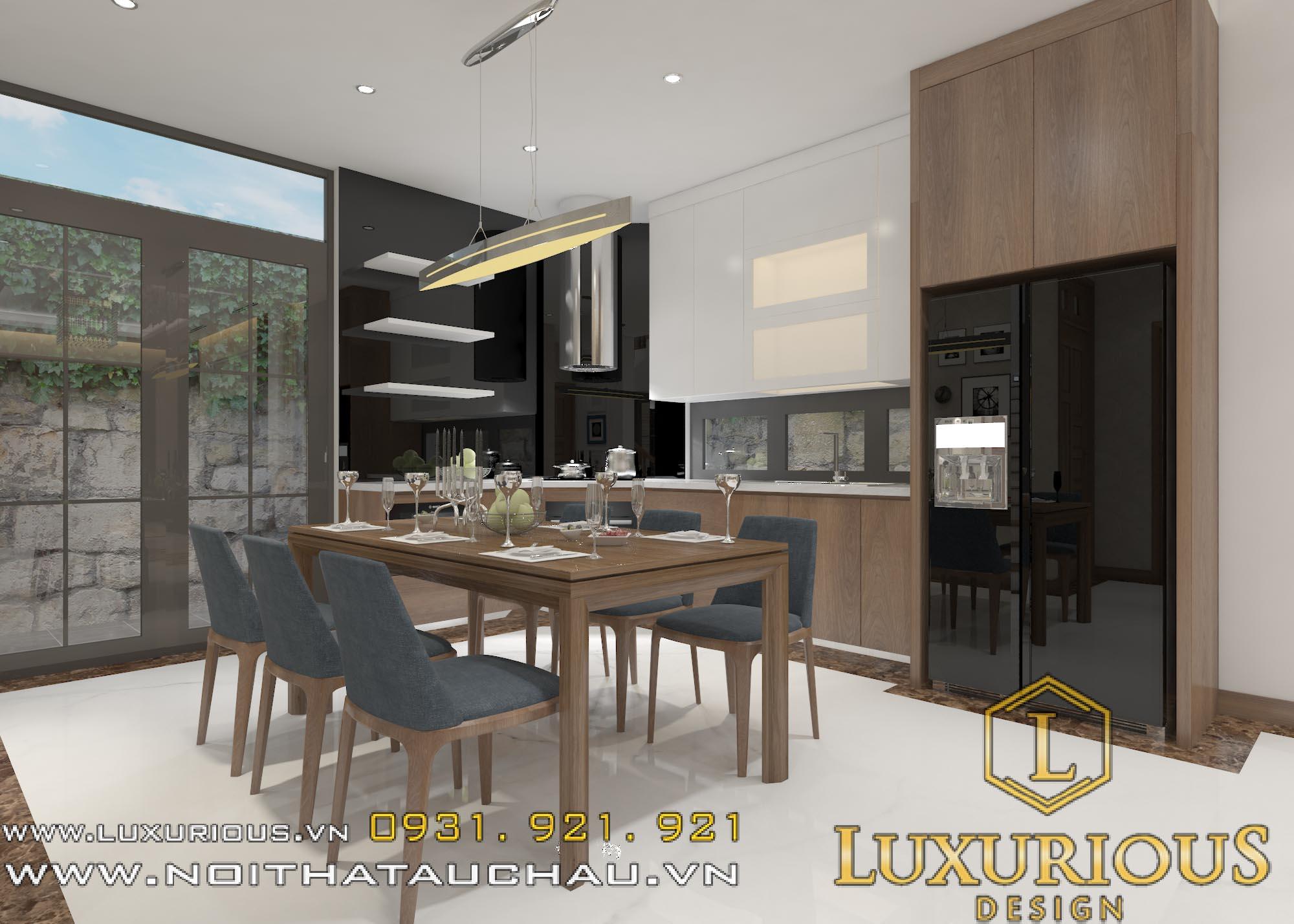 Thiết kế nội thất phòng ăn nhà lô phố 3 tầng