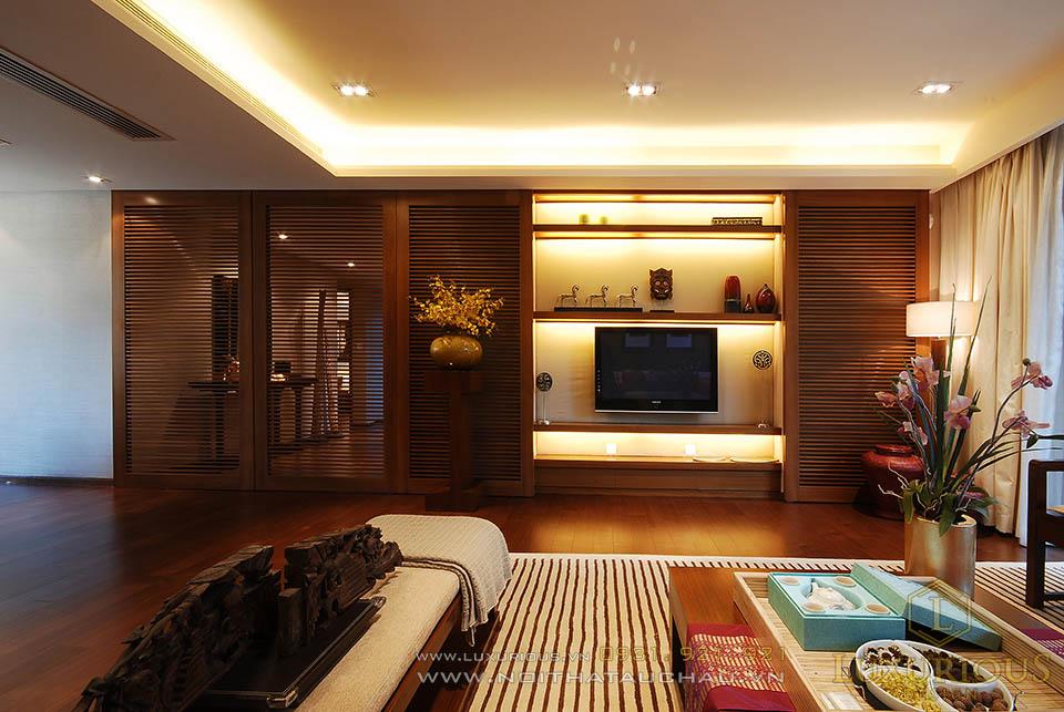Phòng khách phong cách á đông