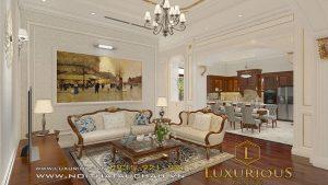 Phòng khách biệt thự hà tĩnh phong cách tân cổ điển