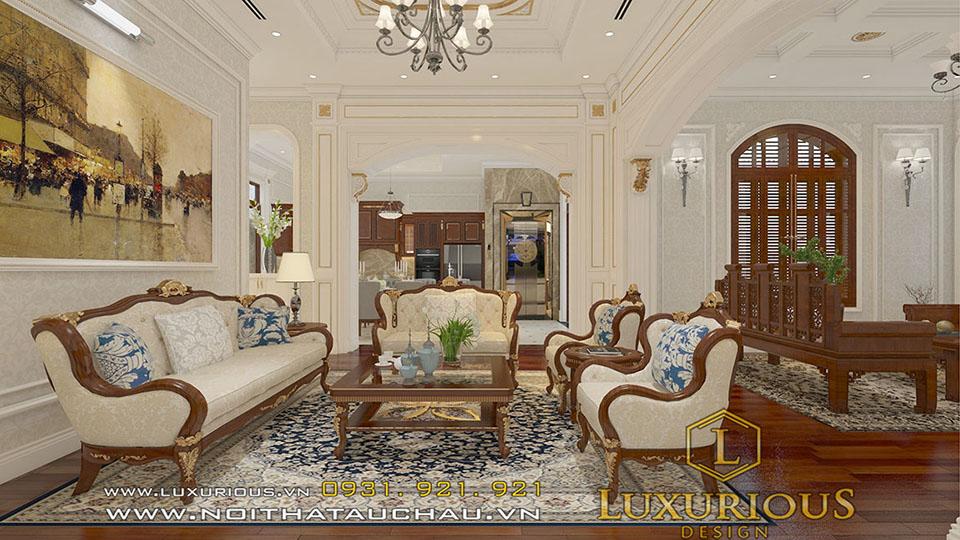 Phòng khách biệt thự tân cổ điển