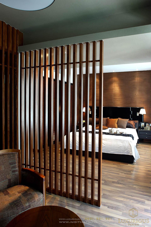 Phòng ngủ biệt thự có vách ngăn