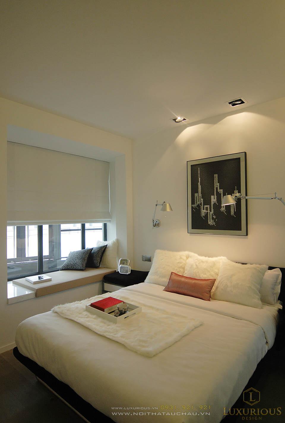 Thiết kế thi công nội thất phòng ngủ mặt tiền 4m, chiều dài15m