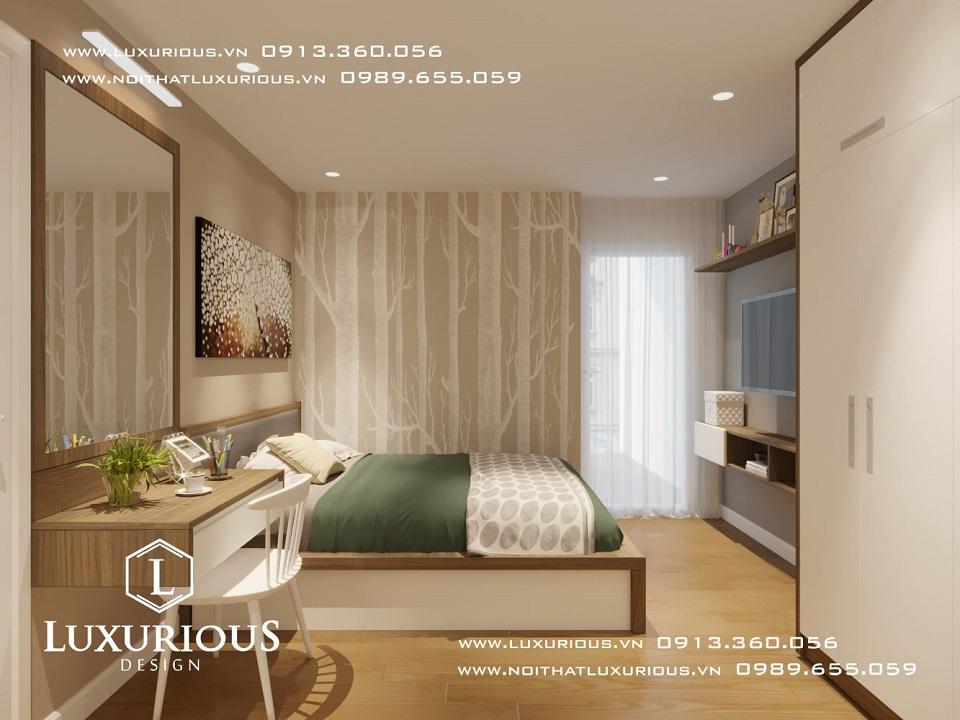 Thiết kế nội thất phòng ngủ căn hộ chung cư The Garden Hill